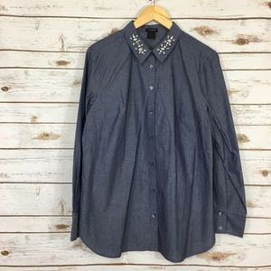 Ann Taylor Jeweled Collar Chambray Button- Down